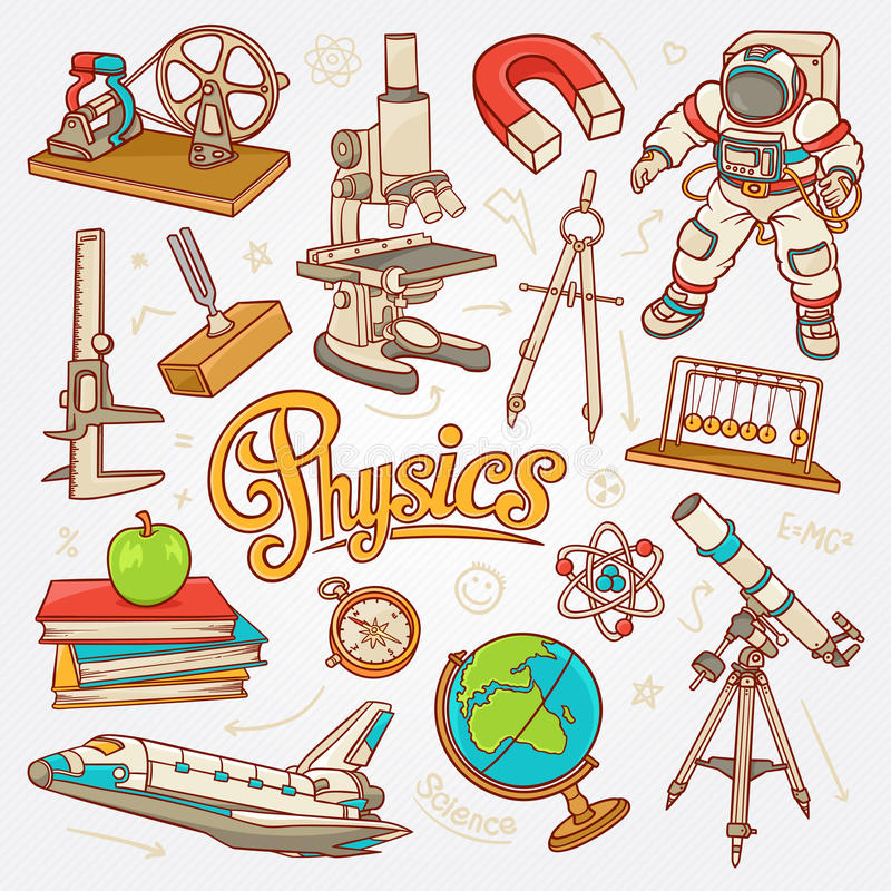 Physics icons in science concept sketch illustration stock photography