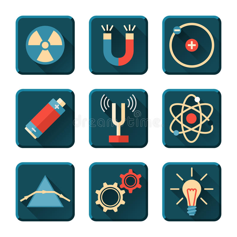 Physics ikony w płaskim projekta stylu royalty ilustracja