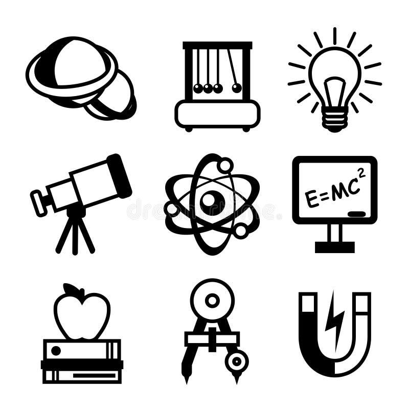 Physics nauki ikony royalty ilustracja