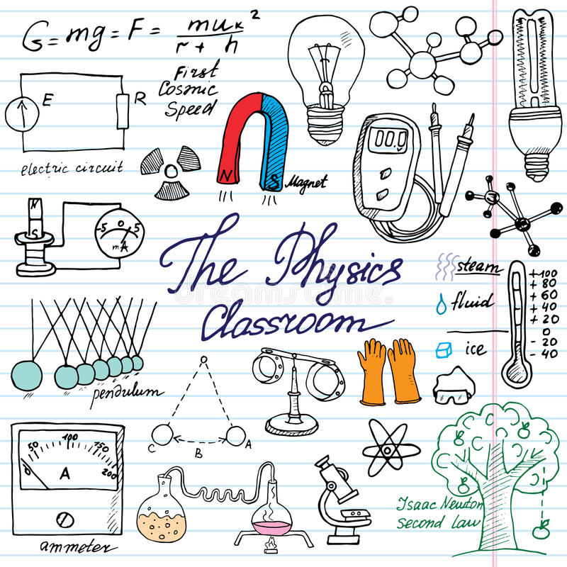 Physics and science elements doodles icons set. Hand drawn sketch with microscope, formulas, experiments equipment, analysis tools royalty free illustration