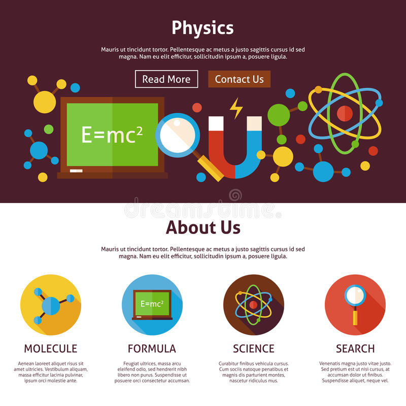 Physics science flat web design template stock vector image 71167587 for How to learn web designing at home free