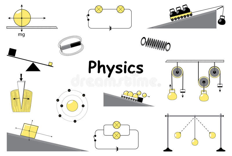 Physics and science icons set stock vector illustration of design distance 69017016 for Physics planning and design experiments