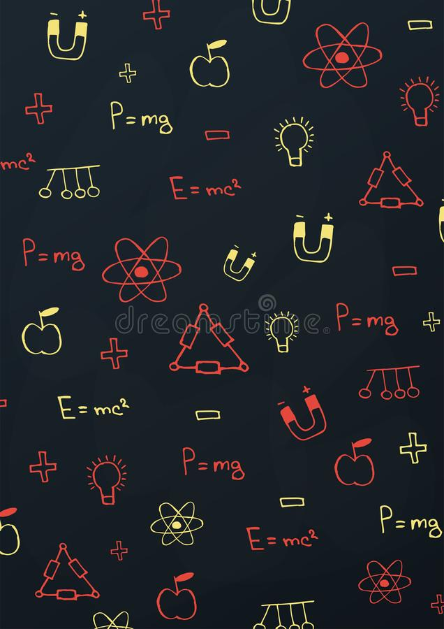 Physics Szkolny temat z remisów doodles Edukacja sztandar również zwrócić corel ilustracji wektora ilustracja wektor