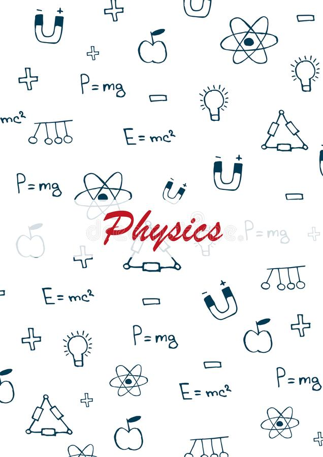 Physics Szkolny temat z remisów doodles Edukacja sztandar również zwrócić corel ilustracji wektora royalty ilustracja