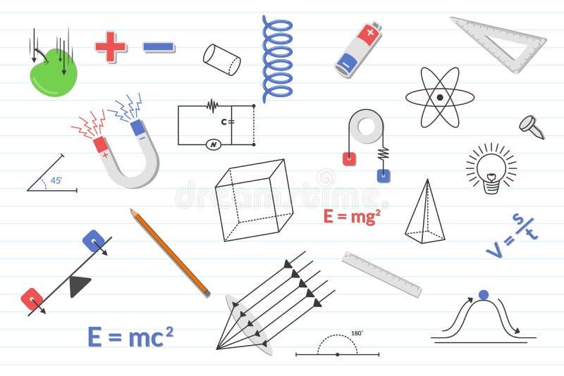 Physikausbildungswissenschaft mit verschiedenen Gegenständen und Papierlinie Hintergrund - Vektorillustration vektor abbildung
