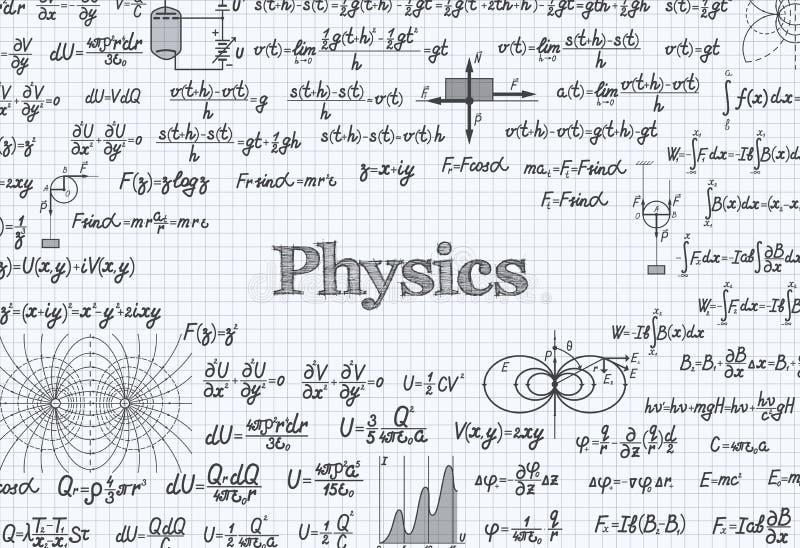 Physikvektor-Musterhintergrund im Übungsbuch lizenzfreie abbildung