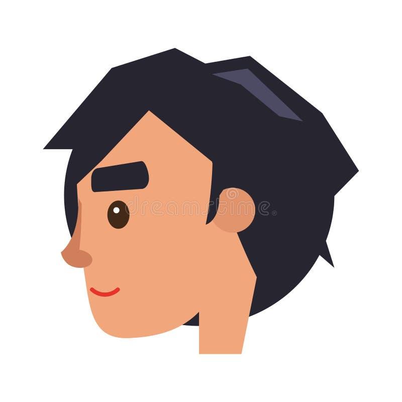 Physiognomie des Jungen Brünette-behaartes Mann-Gesichts-Profil vektor abbildung