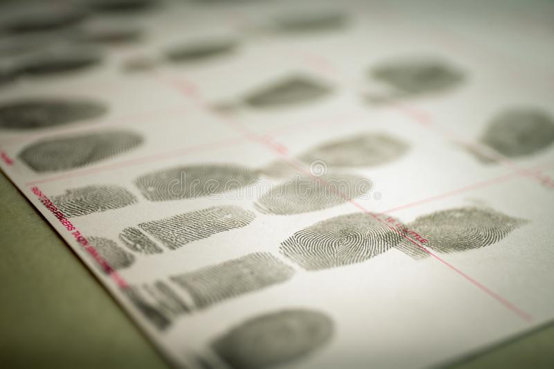 physiological biometrics concept for criminal record by fingerprint in cinematic tone stock image