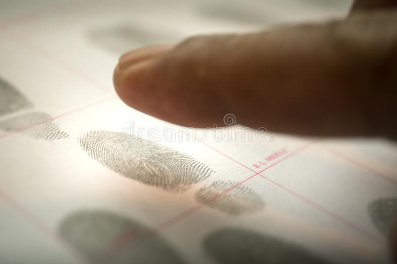 physiological biometrics concept for criminal record by fingerprint in cinematic tone stock photo