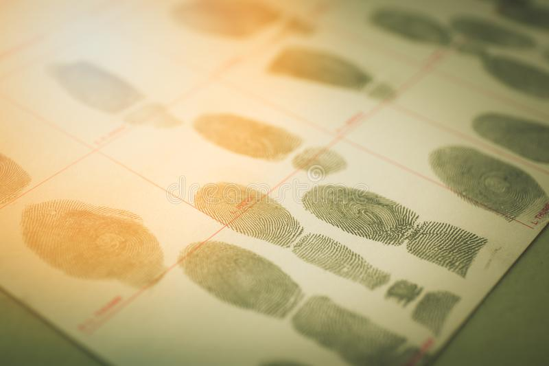 physiological biometrics concept for criminal record by fingerprint in cinematic tone royalty free stock images