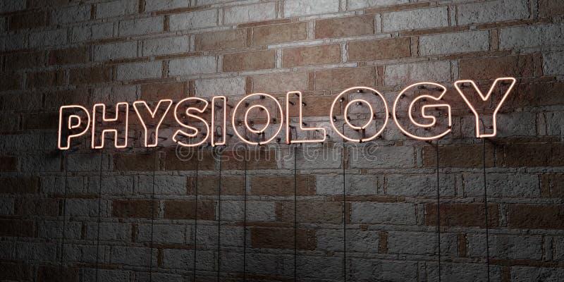 PHYSIOLOGIE - Enseigne au néon rougeoyant sur le mur de maçonnerie - 3D a rendu l'illustration courante gratuite de redevance illustration stock