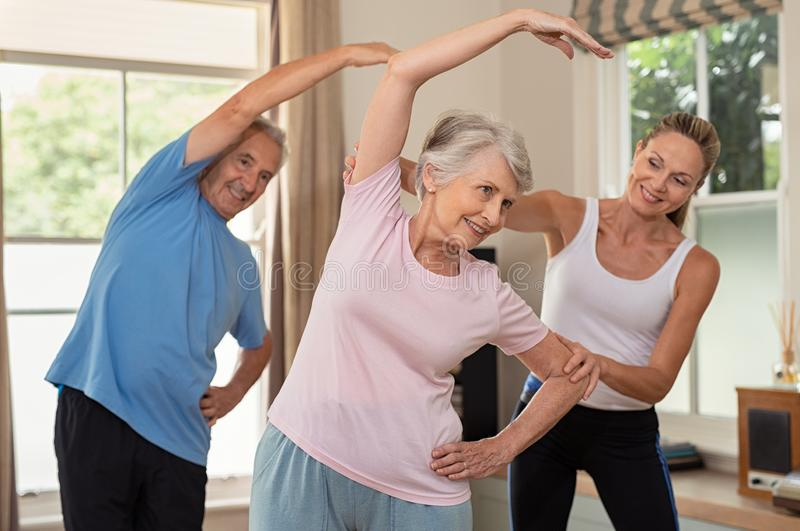 Physiotherapist helping senior couple exercise stock images