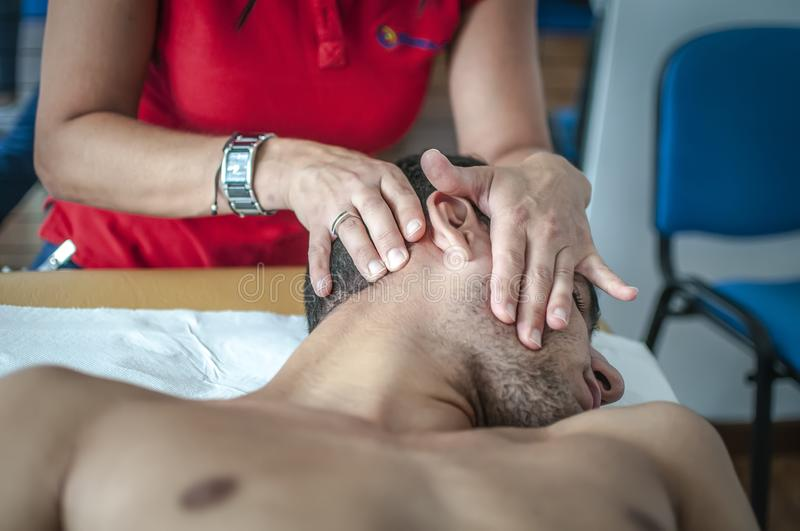 Cervical pain stock photography