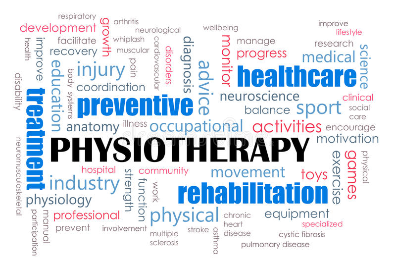 Physiotherapy concept. A computer illustration on the concepts of physiotherapy as a medical treatment and health measures. Covers all key aspects, equipment and