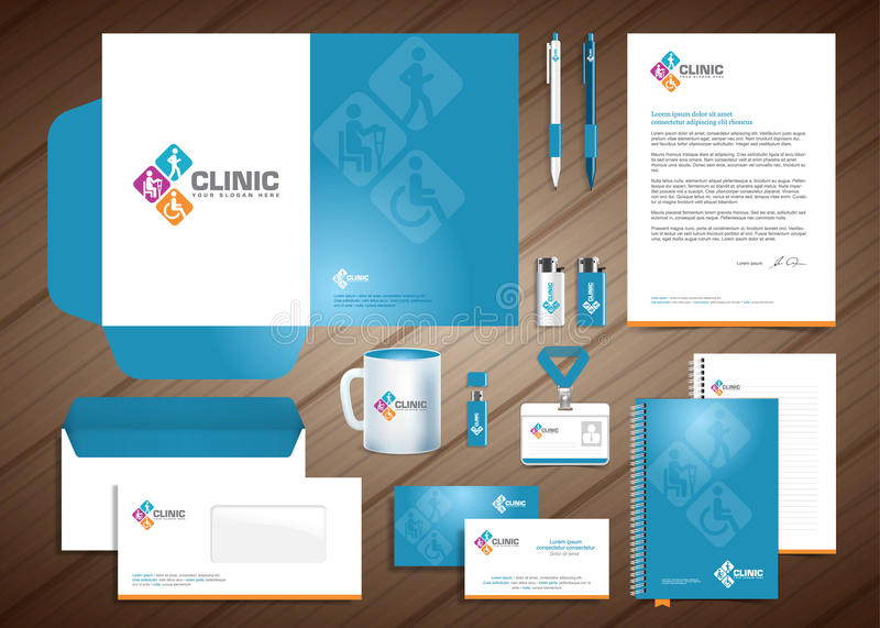 Physiotherapy Medical Centre Corporate Identity. Medical diagnostics center chiropractic, spine clinic logo, vector illustration hospital corporate identity stock illustration