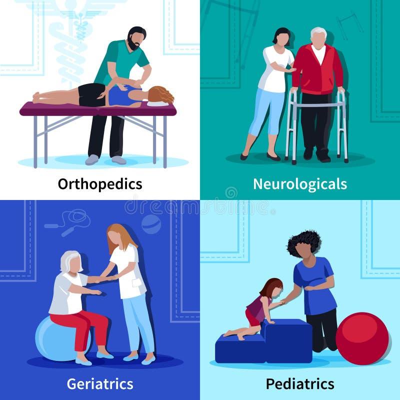 Physiotherapy Rehabilitation 4 Flat Icons Square royalty free illustration