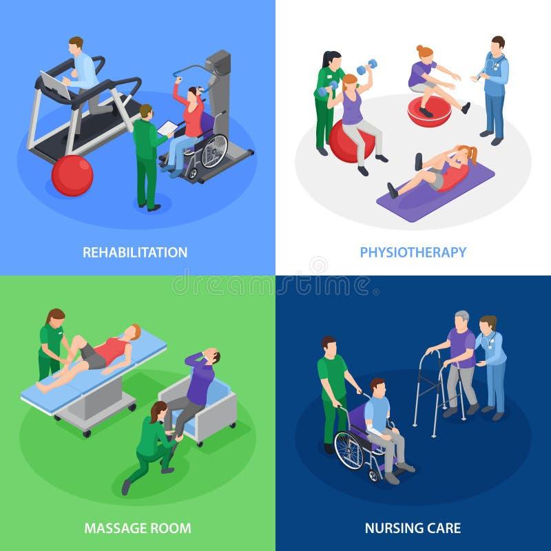 Physiotherapy Rehabilitation Isometric Concept. Physiotherapy rehabilitation 4 isometric icons concept with nursing care massage treatment strength balance royalty free illustration