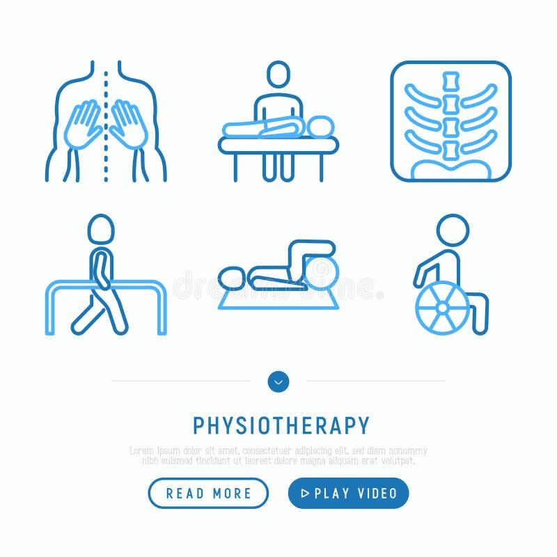 Free Physiotherapy Thin Line Icons Set: Rehabilitation, Physiotherapist, Verterbra, Massage, Go-carts; Wheelchair, Trauma. Vector Royalty Free Stock Photo - 120768615