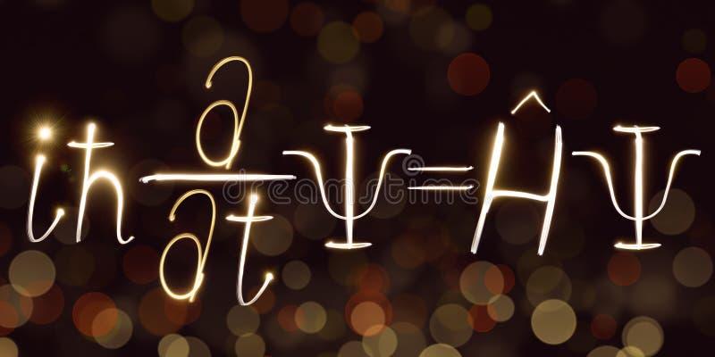 Physique, formule du ` s de Schrodinger, freezelight, bokeh, équation de Schrödinger, la mécanique quantique illustration de vecteur