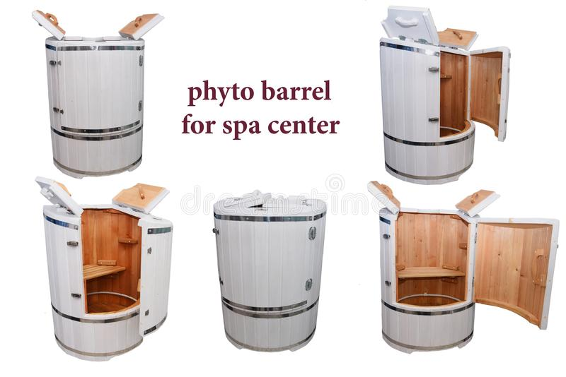 Phyto barrel for spa center. Spa treatments. Hardware cosmetology. Anti-cellulite and anti-fat therapy. Phyto barrel for spa center. Spa treatments. Hardware stock photos