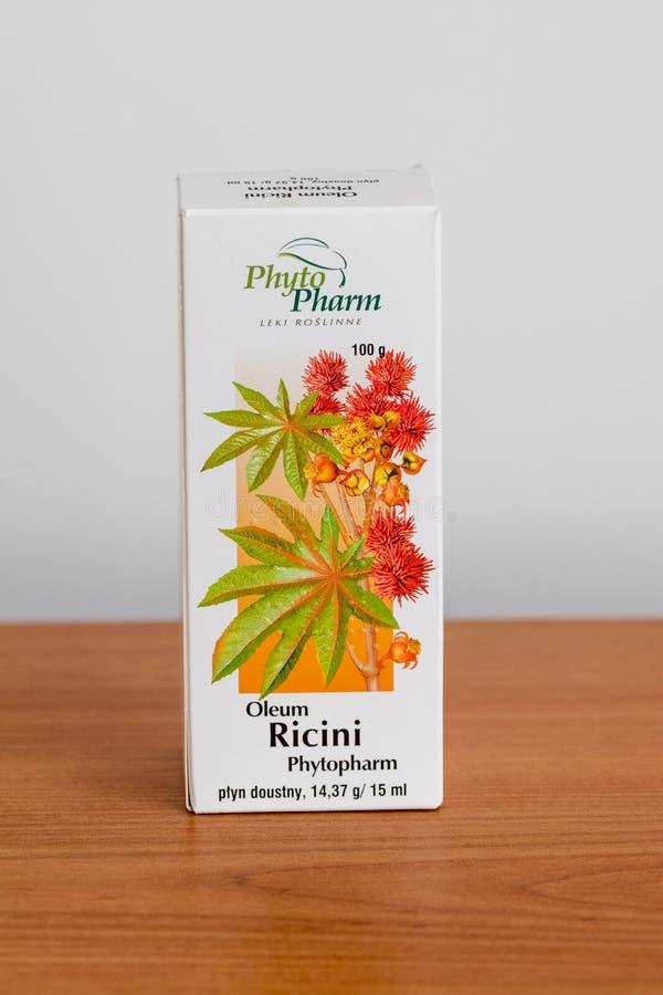 PhytoPharm Oleum Ricini Leczniczy produkt z laxative skutkiem uzyskiwał od ziaren rycynowy - nafciana roślina fotografia royalty free