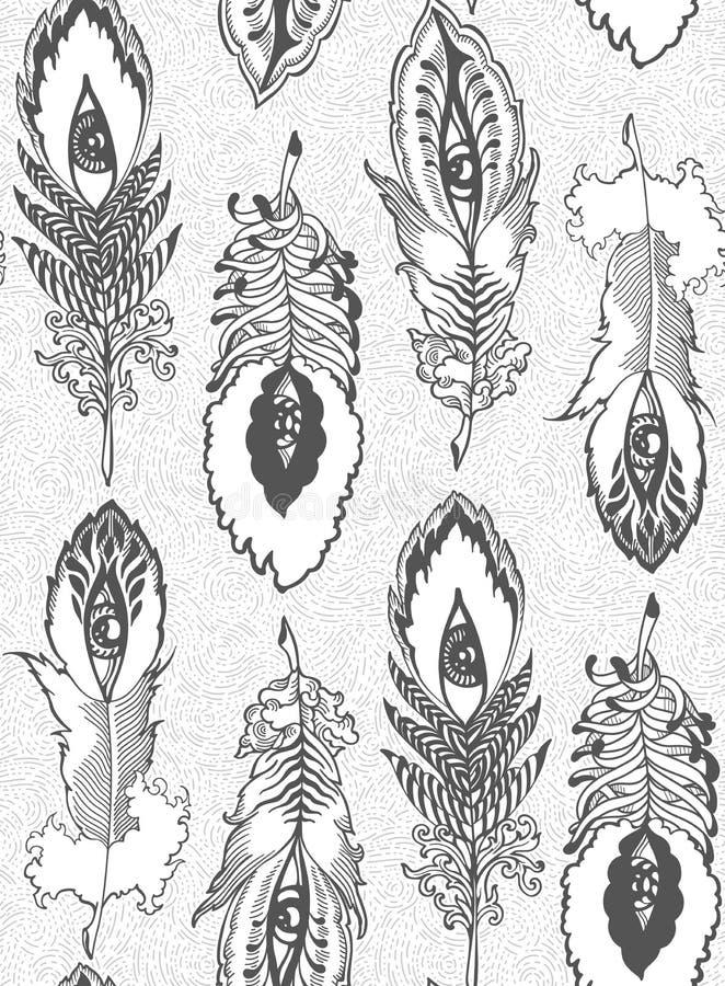 Piórkowy wzór w górę i na dół royalty ilustracja