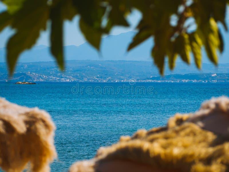 Piękna denna linia widzieć przez plaż bud i drzewek palmowych fotografia stock
