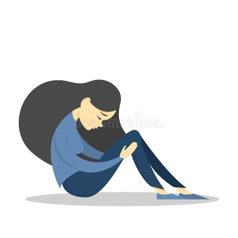piękna dziewczyna smutna Kobieta w smuceniu żal royalty ilustracja