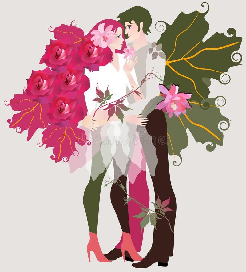 Piękna dziewczyna z włosy w formie ciemnopąsowe róże i chłopak z skrzydłami w kształcie zieleni liście róża royalty ilustracja