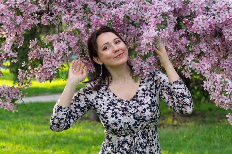 Piękna kobieta w ogródzie wśród bzów fotografia royalty free