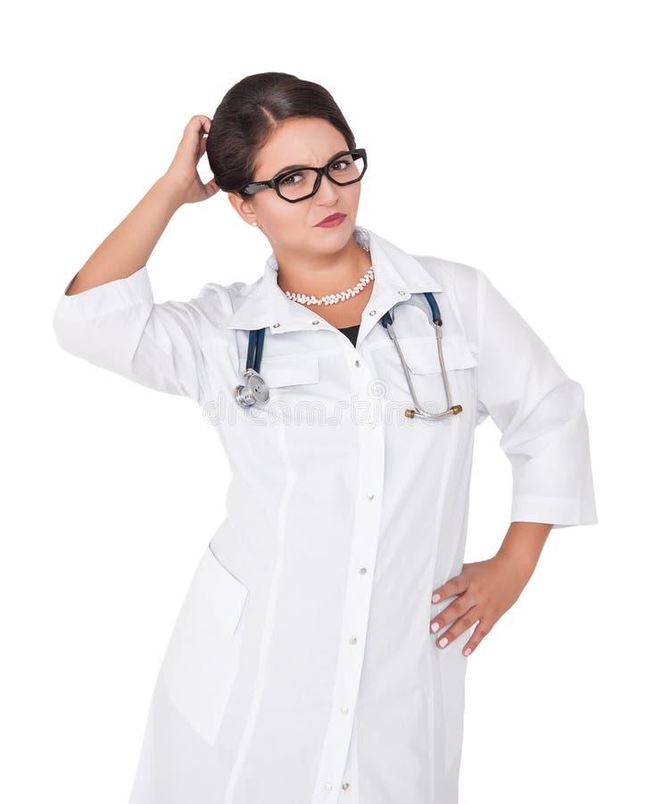 Piękna kobiety lekarki chrobota głowa odizolowywająca obraz royalty free