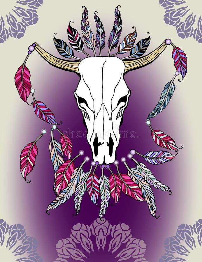 Piękna ręka rysująca nakreślenie ilustracja czaszka byk Boho stylu druk z piórkami obraz royalty free