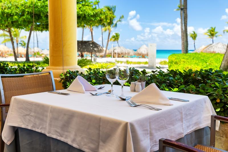 Piękna restauracja na plaży zdjęcia royalty free