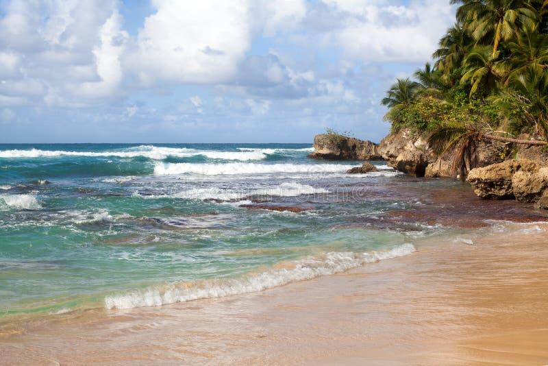 Piękne fale na błękitnym oceanie z bielem pienią się niebieskie niebo z chmury tłem obrazy royalty free