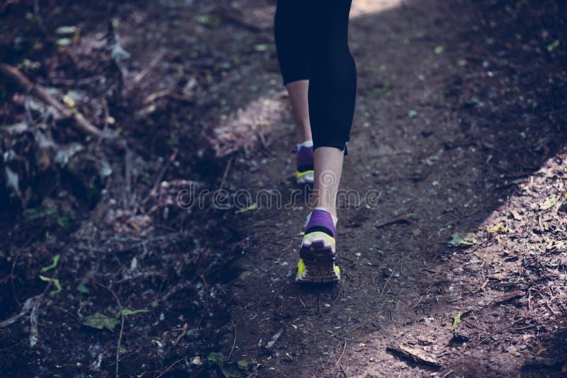 Piękne i atrakcyjne nogi kobieta bieg na lesie góra obraz royalty free