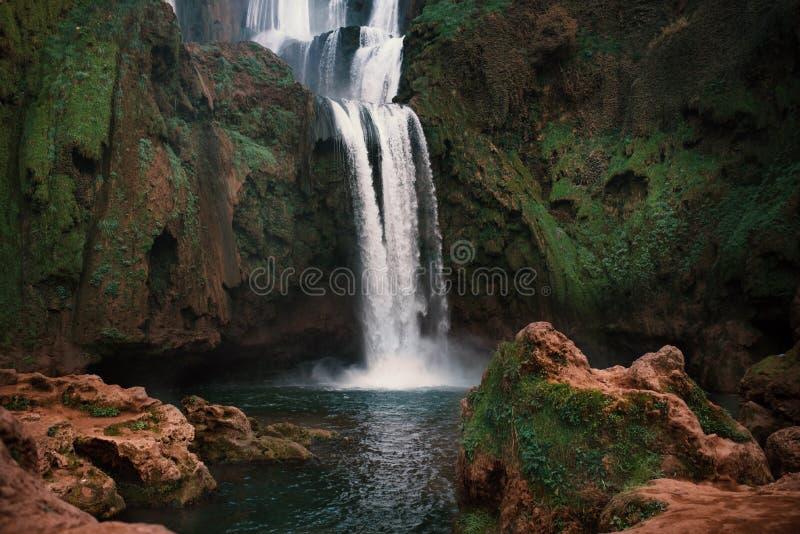 Piękne siklawy dzwonić - Ouzoud w Maroko Ouzoud Spada w Afryka Krajobraz zdjęcie royalty free