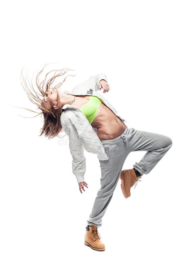 Pięknego blond tancerza odosobniony biały tło zdjęcia royalty free