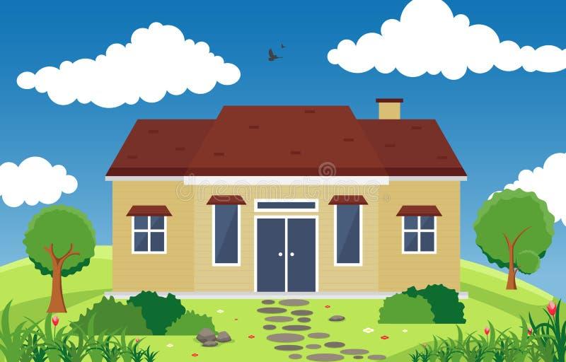Pięknego Nowożytnego Domowego Zewnętrznego Fasadowego jarda Mieszkaniowa ilustracja ilustracji