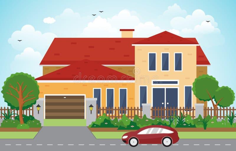 Pięknego Nowożytnego Domowego Zewnętrznego Fasadowego jarda Mieszkaniowa ilustracja ilustracja wektor