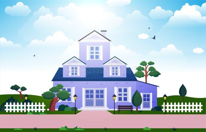 Pięknego Nowożytnego Domowego Zewnętrznego Fasadowego jarda Mieszkaniowa ilustracja royalty ilustracja