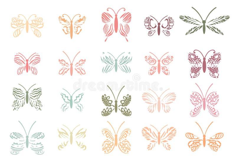 Piękni Tropikalni motyle ustawiający Wektorów odosobneni elementy na białym tle ilustracja wektor