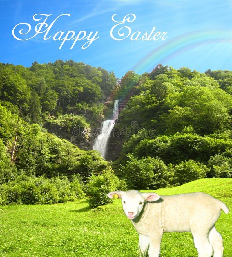 Pięknie pogodny wodny spadek na jaskrawym letnim dniu z słodkim barankiem i pięknym niebieskie niebo kolażem z szczęśliwym Easter ilustracji