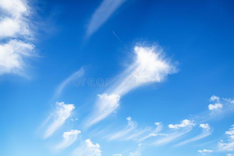 Piękny biel chmurnieje na niebieskiego nieba tle Chmury Jak szczotkarscy uderzenia zdjęcia royalty free