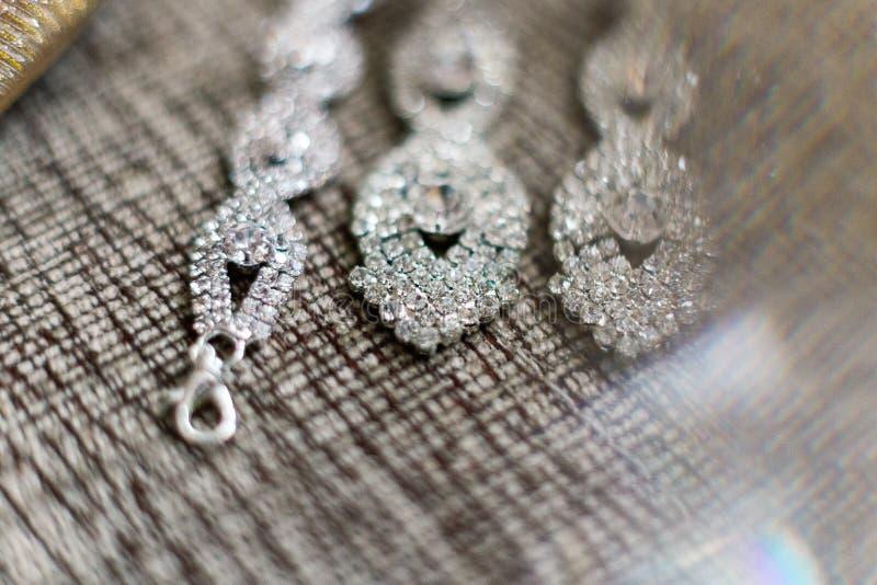Piękny delikatny przygotowania koronki srebra szpilki i bridal akcesoria dla poślubiać zdjęcie royalty free