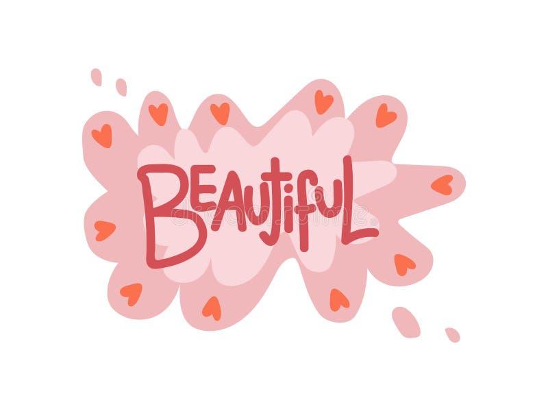 Piękny, Dziewczęcy Ładny projekta element, Może Używać Dla kartki z pozdrowieniami, odznaka, etykietka, zaproszenie, sztandaru we ilustracja wektor