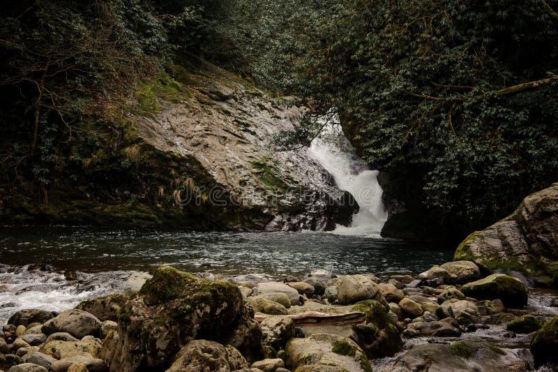 Piękny krajobraz mała siklawa w Aphrodite kąpać się fotografia royalty free