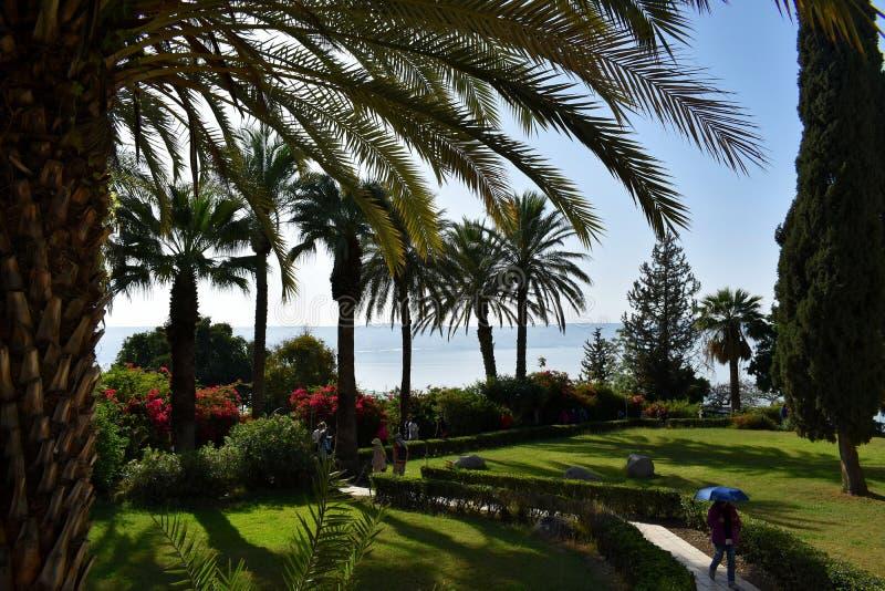 Piękny ogród przegapia morze Galilee, Izrael 6 2018 Kwiecień zdjęcie royalty free