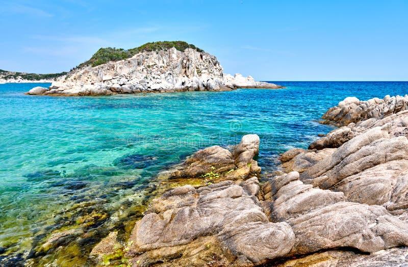 Piękny plaża krajobraz, Sithonia, Grecja obraz royalty free