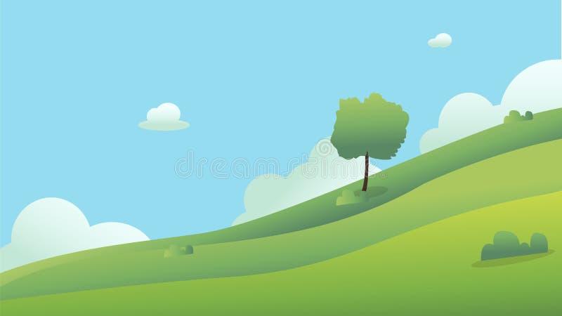 Piękny pole krajobraz z świtem, zieleni wzgórza, jaskrawy koloru niebieskie niebo, tło Łąki krajobrazowa wektorowa ilustracja royalty ilustracja