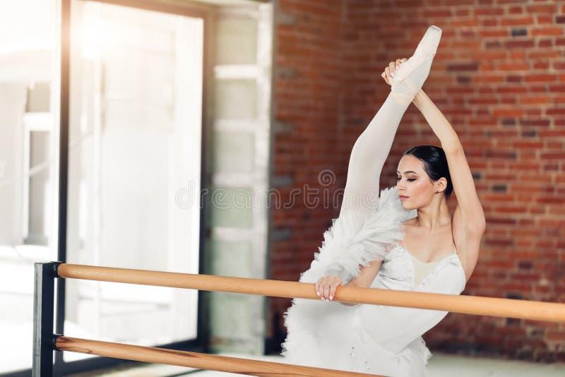 Piękny szczupły tancerz lifing jej nogę obraz stock